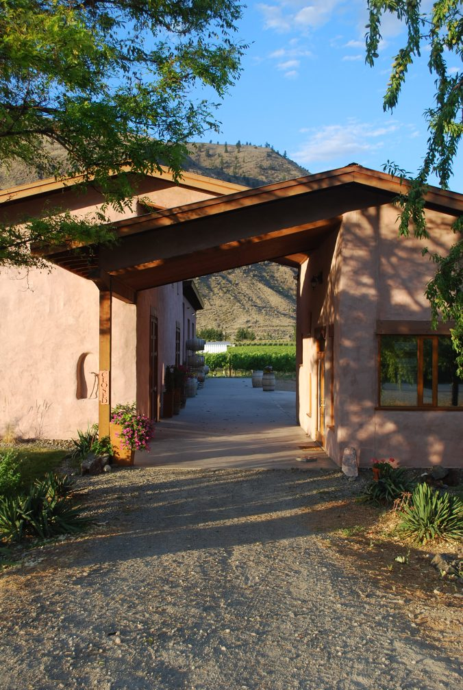 Wine shop breezeway at Orofino, and winery built with straw bales.