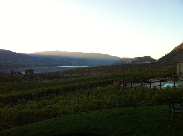 Sunset from Nk'Mip Cellars looking northwest over Osoyoos Lake.