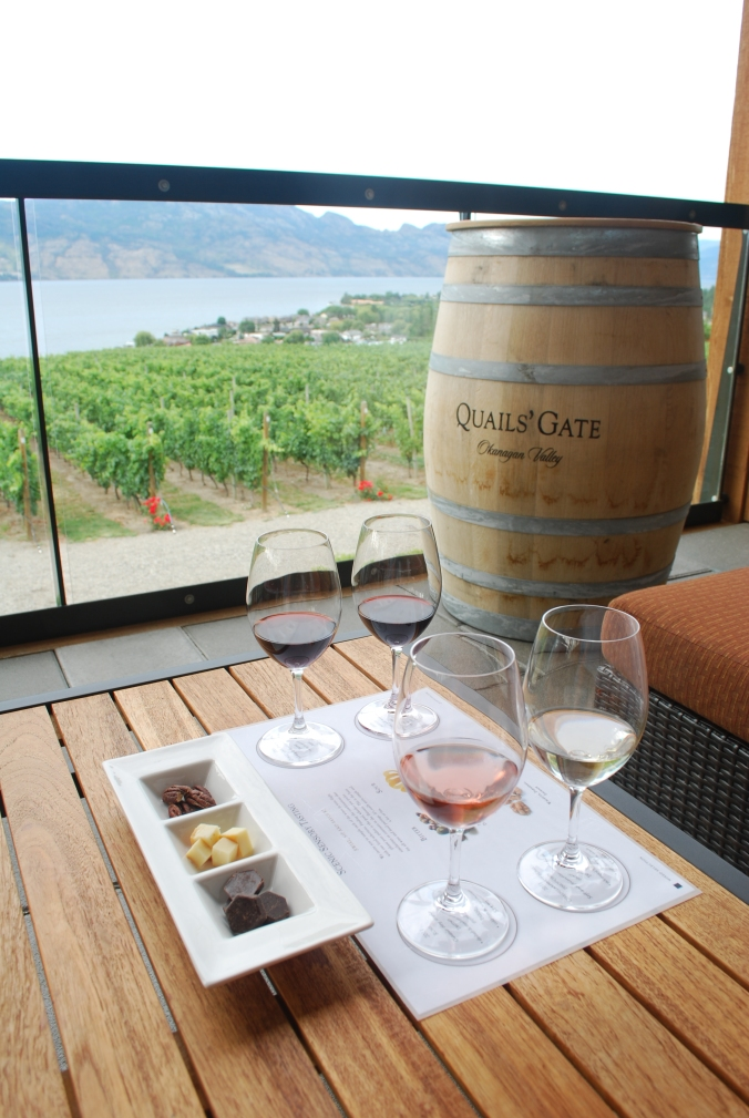 Tasting in front of Quail's Gate Estate Winery.